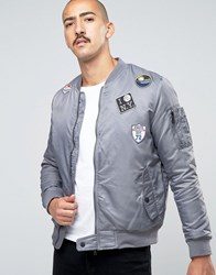 Brave Soul Ma1 Badge Bomber Jacket Grey