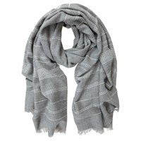 Mint Velvet Stab Stitch Stripe Scarf Grey