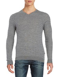 Strellson Textured Wool Sweater Silver