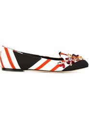 Dolce And Gabbana Embellished Striped Slippers Multicolour
