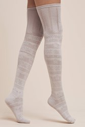 Anthropologie Over The Knee Textured Socks Dark Grey