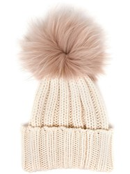 Inverni Cashmere And Fur Beanie White