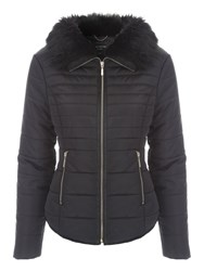 Jane Norman Fur Collar Short Padded Coat Black