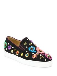 Christian Louboutin Boat Candy Beaded Suede Skate Sneakers Black Multi