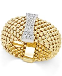 Macy's Diamond Mesh Ring 1 6 Ct. T.W. In 14K Gold Plated Sterling Silver Gold Over Sterling Silver
