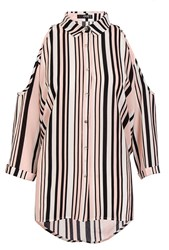 Quiz Pink Crepe Stripe Cold Shoulder Top