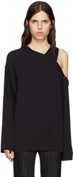 Nomia Navy Cut Out Shoulder Pullover