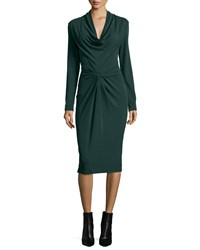 Michael Kors Long Sleeve Cowl Neck Sheath Dress Forest Green