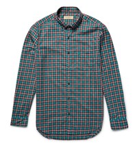 Burberry Sli Fit Button Down Collar Checked Cotton Shirt Teal