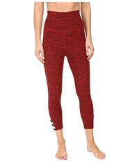 Beyond Yoga High Waist Interloop Capris Black Chili Red Spacedye Women's Capri