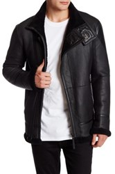 Helmut Lang Genuine Shearling And Leather Coat Black