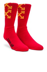 Off White Arrows Socks Red