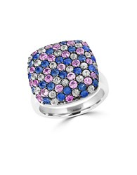 Effy 925 Sterling Silver And Tricolor Sapphire Ring