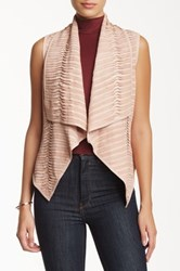 My Tribe Genuine Leather And Suede Vest Pink