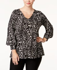 Ny Collection Plus Size Printed Chain Trim Top Oxford