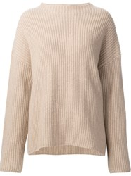 Nili Lotan Lateral Slit Ribbed Sweater Nude And Neutrals