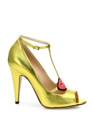 Gucci Molina Metallic Leather Lips T Strap Pumps Gold