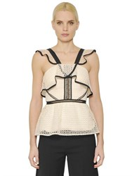 Self Portrait Ruffled Lace Top With Peplum