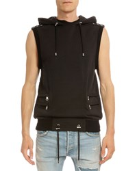 Balmain Sleeveless Hooded Cotton Pullover Black Size Small