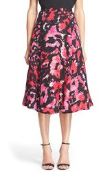 Tracy Reese Floral Print Pleated Linen And Silk Skirt 12