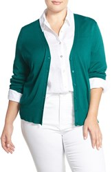 Plus Size Women's Sejour V Neck Cardigan Teal Green