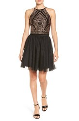 Jump Apparel Women's Glitter And Mesh Two Piece Party Dress