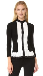 Yigal Azrouel Pleated Cashmere Cardigan Jet Multi