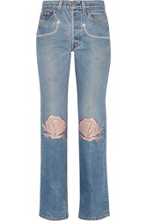 Bliss And Mischief Song Of The West Embroidered Mid Rise Straight Leg Jeans Mid Denim