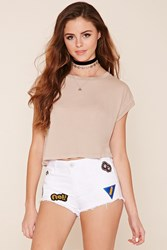 Forever 21 Patch Distressed Cutoff Shorts