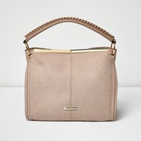 River Island Womens Pink Panel Whipstitch Slouch Bag