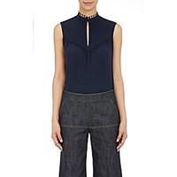 Derek Lam Women's Pintucked Sleeveless Blouse Black Navy Black Navy
