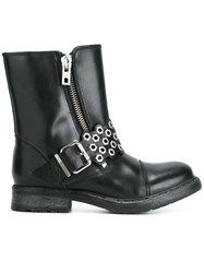 Diesel Zipped Buckled Boots Black