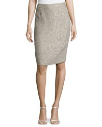 Escada Low Rise Metallic Pencil Skirt Platinum