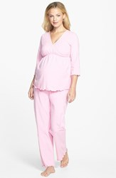 Women's Japanese Weekend Maternity Nursing Pajamas Pink