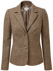Pure Collection Peyton Textured Wool Blazer Camel Dogtooth