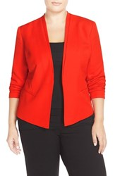 Plus Size Women's Halogen Open Front V Neck Jacket Red Fiery