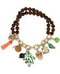 Betsey Johnson Gold Tone Wooden Beaded Stretch Charm Bracelet