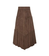 Saint Laurent Suede Skirt Brown