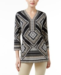 Jm Collection Printed Studded Tunic Only At Macy's Neutral Reflected Geo