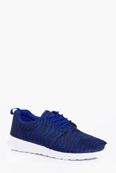 Boohoo Knit Running Trainers Blue