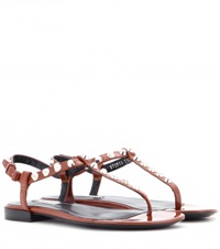 Balenciaga Giant Stud Patent Leather Sandals Brown