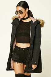 Forever 21 Faux Fur Hooded Parka Black Mauve