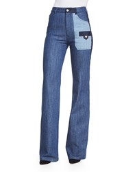 See By Chloe Patchwork Denim Flare Jeans Blue