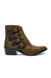 Toga Pulla Limited Edition Leather Buckle Booties In Green Brown Green Brown