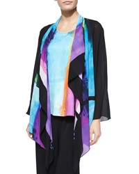 Caroline Rose Bright Border Print Waterfall Jacket Petite