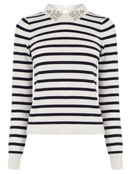 Oasis Striped Embellished Collar Jumper Multi