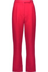 Valentino Cropped Wool And Silk Blend Straight Leg Pants Red