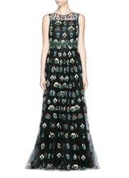 Valentino 'Primavera' Floral Embroidery Tulle Gown Black Multi Colour