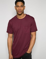 Solid T Shirt With Front Pocket Burgundy Grey