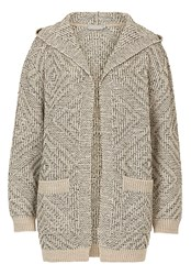 Betty And Co. Chunky Knit Hooded Cardigan Grey